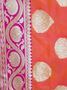 Banarasee Handwoven Georgette Silk Saree With Big Buta and Floral Border Design-Orange(Dual Tone)