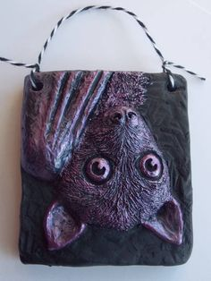 Little Bat Plaque - MORE ART, LESS CRAFT - All Holiday crafts, Knitting, Art, sewing, crochet, tutorials, children crafts, jewelry, needlework, swaps, papercrafts, Polymer clay, cooking, Quilting, Video How-To's, and so much more on Craftster.org