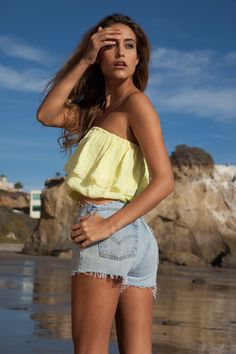 Soleil Blue Julia Tube top in buttercup