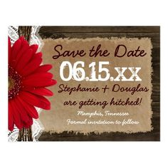 Barn Wedding Save the Date Rustic Wood Red Daisy Save the Date Postcards
