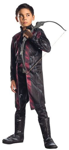 Avengers Age of Ultron Hawkeye Costume - Become the master of archery in this impressive Hawkeye costume from the Marvel movie Avengers: Age of Ultron.  Hawkeye costume comes with two pieces. The jacket is long sleeved with a velcro back and jacket closure which opens up to show the attached shirt front. The pants are black with grey highlights to detail his armour. #superhero #calgary #yyc #children #avengers #costume