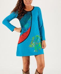 Another great find on #zulily! Aqua & Green Floral Scoop Neck Dress #zulilyfinds