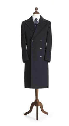 Navy Classic Double Breasted Coat - Crombie