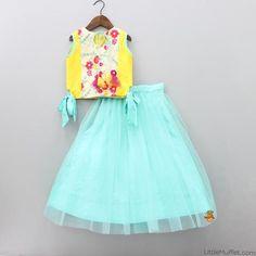 Pre Order: Yellow And Blue Lehenga - Top Lehenga Top, Kids Lehenga Choli, Blue Lehenga, Baby Girl Lehenga, Kids Blouse Designs, Baby Dress Design, Kids Gown, Princess Dress Kids, Kids Frocks