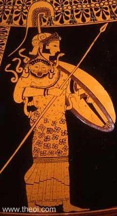 Athena, goddess of Wisdom, Warfare, Divine intelligence, Architecture and Crafts Patron Goddess of Athens Athena Greek Goddess, Greek Goddess Of Wisdom, Greek And Roman Mythology, Greek Gods, Ancient Greek Art, Ancient Greece, Greek Pottery, Pottery Art, Minoan