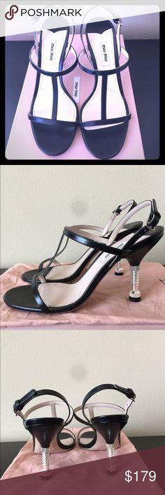New Miu Miu T-strap bolt heel sandals size 37 New with shoe box and dust bag Miu Miu Shoes Heels