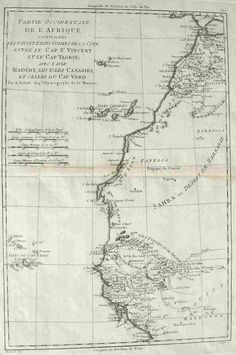 Interesting map of North West Africa from Marocco to Senegal with Cap Verde Islands and the Canary Islands.Uncoloured as issued. Michael Jennings, Verde Island, West Africa, North West, Charts, Islands, Printables, History, Travel