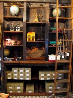 I want this in my basement for organization purposes Hutch Cabinet, Liquor Cabinet, Library Ladder, Store Displays, I Am Awesome, Display Ideas, Organization, Storage, Basements
