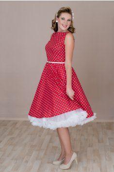 SUSAN červené retro šaty s bílým puntíkem - MiaBella 2f9661a8bf