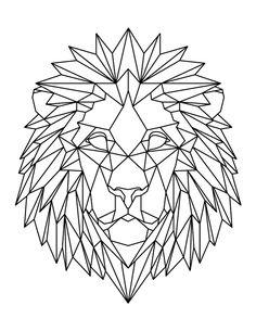 Printable Geometric Lion Head Coloring Page Geometric Quilt, Geometric Drawing, Geometric Art, Geometric Lion Tattoo, Geometric Elephant, Geometric Animal, Outline Drawings, Animal Drawings, Lion Origami