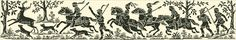 Medieval hunting scene | Chart for cross stitch or filet crochet.