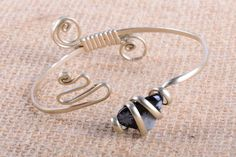 Adjustable bangle bracelet with with natural stones by mezoCULTURE