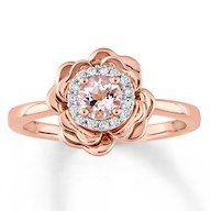 Morganite Ring 1/8 ct tw Diamonds 10K Rose Gold