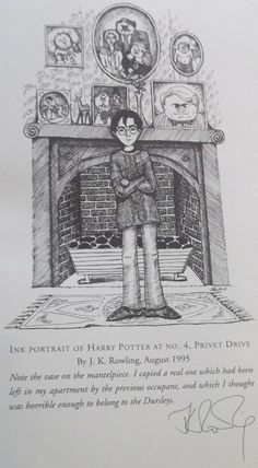 Harry James Potter at Number 4, Privet Drive, as imagined and drawn by JK Rowling herself. SO MUCH NERD LOVE.