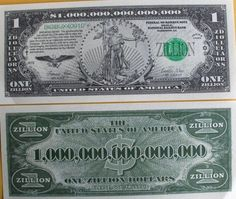 How to write in figures One trillion dollars and one zillion dollars e.g.$1,000,000,000,0000?
