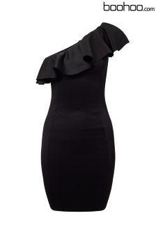 Boohoo Petite One Shoulder Ruffle Dress