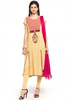 Woven Cotton Straight Suit in Beige