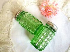 Antique Hazel Atlas green depression glass salt and pepper shakers by HydrangeaHillVintage, $15.00