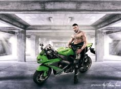 Muscle Guy showing off his Super Bike