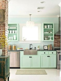 cute-kitchen-mint-kitchen-with-exposed-brick-and-a-farmhouse-sink-exposed-brick-and-a-farmhouse-sink-are-my-absolute-must-haves-in-my-house-cute-kitchen-gift-ideas.jpg (600×799)