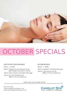 Not only the kids deserve a break... The Camelot Spa at San Lameer is offering you a chance to relax and de-stress during October with these incredible offers!  To make a booking, contact them on: T: 039 313 0642 E: sanlameer@camelotspa.co.za 5 Star Spa, Mens Facial, Shoulder Massage, Spa Packages, Facial Massage, Tropical Paradise, Stress, October, Relax