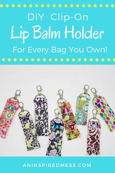 Sewing Gifts Simple and easy instructions for DIY clip-on ribbon lip balm holder. An easy sewing project for tween and adults. Easy Sewing Projects, Sewing Projects For Beginners, Sewing Tutorials, Sewing Hacks, Sewing Crafts, Sewing Tips, Diy Projects, Sewing Ideas, Craft Projects For Adults