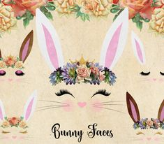 Bunny Faces Clipart - Digital Instant Download Similar items available: http://etsy.me/2xU8vWm This graphics pack of digital images contains cute bunny faces and the components to make your own including nose, whiskers, ears, eyes and eyelashes, crowns, and bouquets. Images are in PNG