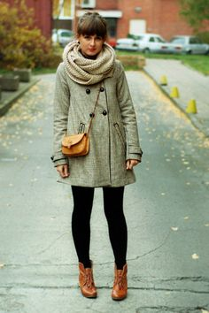 Fall- Overcoat.  Knitted Scarf.  Leggings. Boots