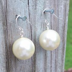 Jaclyn  Gorgeous Chunky 15mm Round Cream Pearl Sterling by Tessyla, $18.50