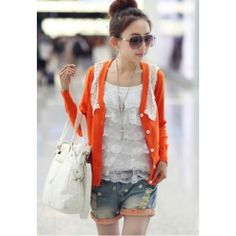 $9.40 Casual Style V-Neck Lace Embellished Long Sleeve Knitting Short Cardigans For Women