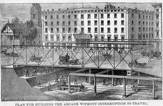 Gilded Age NYC - Broadway Arcade Railway, c.1884 (New York Transit Museum)
