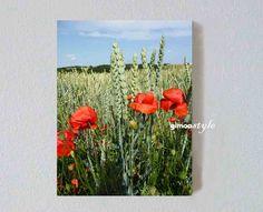 Weizen und Mohn, Landschaft, FOTO von GIMOOTO, Motiv gedruckt auf Satin Canvas Leinwand
