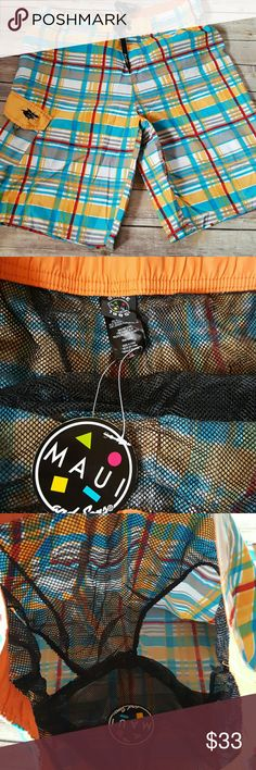 """NWT Mens Maui & Sons Swim Board shorts Trunk Suit Brand new with tags Size 36 Fully lined Drawstring waist Waist 17"""" (some room for give) Length 22"""" Inseam 10.5"""" Maui and sons Swim Board Shorts"""