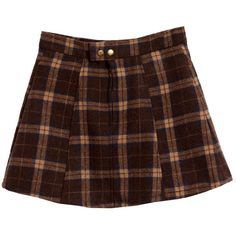 Preppy Brass Buckle Plaid Wool Skirt (4.295 ARS) ❤ liked on Polyvore featuring skirts, bottoms, brown, clothes - skirts, tartan skirt, brown wool skirt, wool plaid skirt, preppy skirts and preppy plaid skirt
