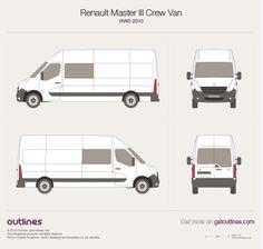 Renault Master III Crew Van RWD vector PDF templates