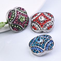 6pcs/lot 2017 New Arrival water flower 18MM Metal Snaps Button Ginger crystal Snap button Charm Bracelet For Women Jewelry NZ001