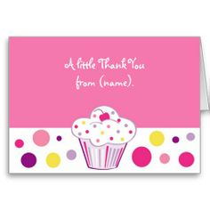 Shop Cupcake Cherry Birthday Thank You Note Cards created by little_prints. Birthday Thank You Notes, Thank You Note Cards, Custom Thank You Cards, Smudging, Paper Texture, Cupcake, Cherry, Polka Dots, Writing