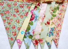 garden tea party shabby chic bunting banner Pink vintage aqua pennant beach wedding sign Birthday cottage rose floral decoration baby shower on Etsy, $25.50