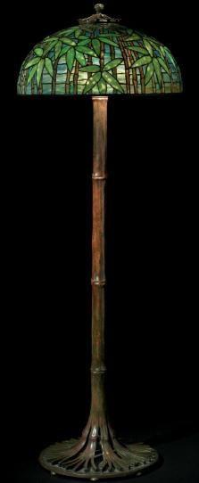 Lampara de pie de bambues Louis Comfort Tiffany