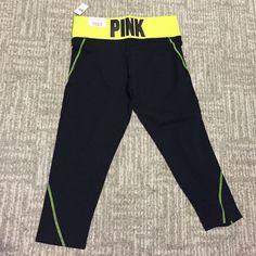 PINK crop legging PINK crop legging. BRAND NEW w/tags. Black with neon yellow. PINK Victoria's Secret Pants Capris