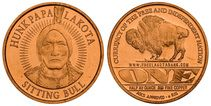 "1/2oz Copper Lakota Round Hunkpapa ""Sitting Bull"" 2011, 1/2 AV oz .999 pure copper round. Brand new, Brilliant Uncirculated Copper Bullion rounds with reeded edges. The artwork is masterful and has the same precision and detail as Proof silver coins but in Copper.  Lakota Medicine Man and Chief to his people. Originally called Slow as he was both meticulous and attentive as a young man. Hunkapapa is a Sioux word meaning ""Head of the Circle""."