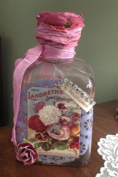 Beautiful Flower Themed Altered Bottle by JunkYardCollectibles