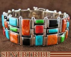 Oyster Shell Multicolor Inlay Genuine Sterling Silver Jewelry Whiterock Link Bracelet