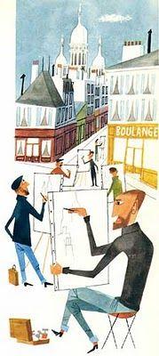 """Paris"" in Mid~Century 1950's ~=~ Illustration by Miroslav Sasek, Merveilleux !! ~:<3"