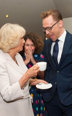 Camilla Duchess of Cornwall & Tom Hiddleston from The Big Picture: Today's Hot Pics  Tea time! We're wondering what the pair could be talking about as they stop for a chat in London.