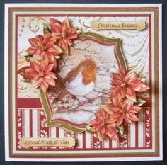 ROBIN POINSETTIA 8X8 Mini Kit with Decoupage on Craftsuprint designed by Janet Briggs - made by Davina Rundle