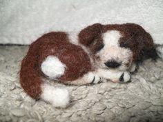 sleeping felted puppy by JuliePavittRobinson on Etsy