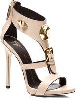 362835ebe6ace0 Giuseppe Zanotti Studded Heel Sandal with Buckle Detail Nude Heeled Sandals