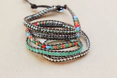 Five Wrap Leather Bracelet - Brown Suede Leather And Multicolored Bead Pyrite Five Wrap Bracelet - Bohemian Jewelry - Boho Chic