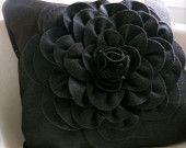 Eco friendly Royal Rich Purple Violet felt  peony cupcake fluff flower pillow cover. $35.00, via Etsy.